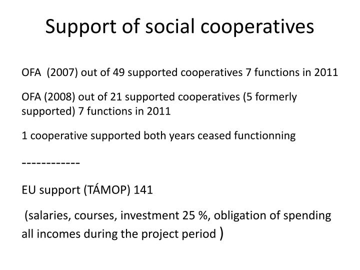 Support of social cooperatives