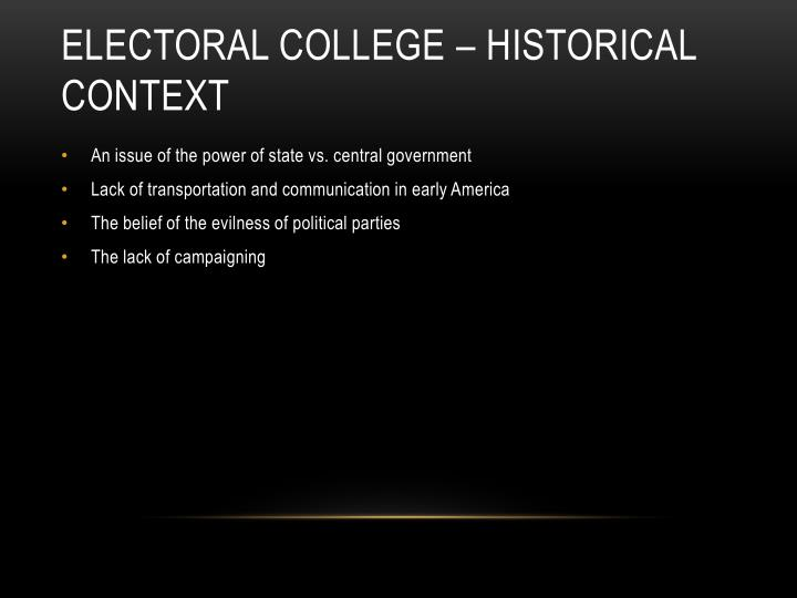Electoral college historical context
