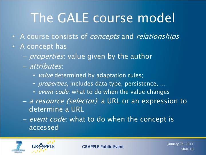 The GALE course model