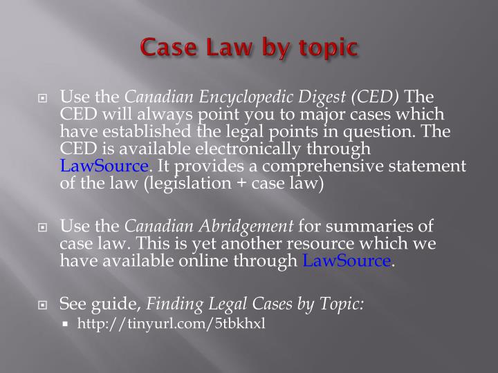 Case Law by topic