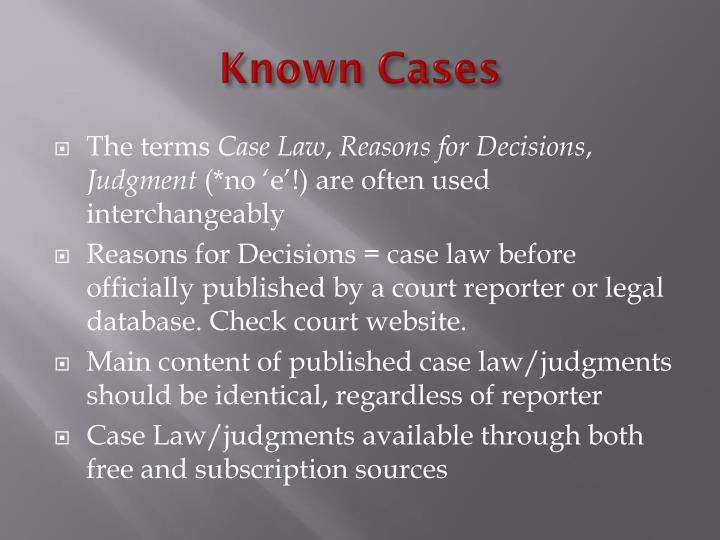Known Cases