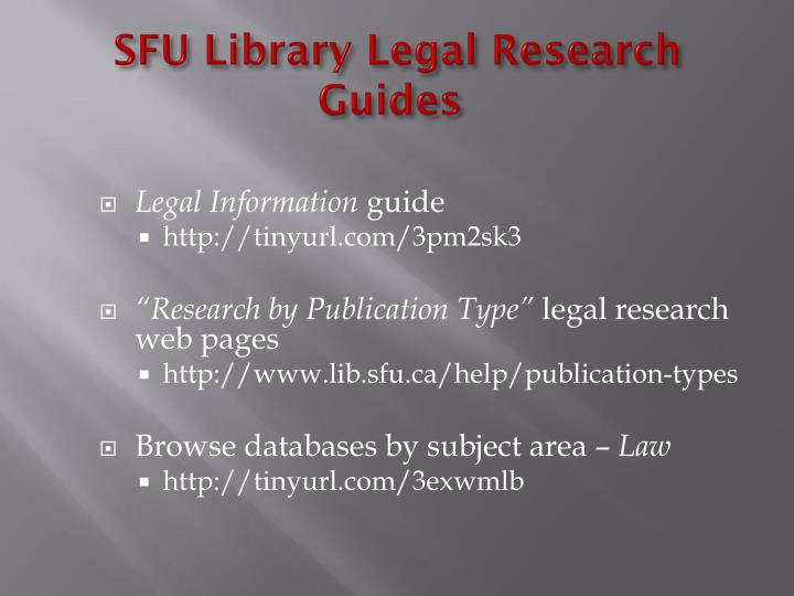Sfu library legal research guides