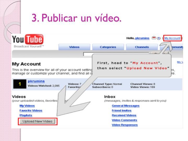 3. Publicar un vídeo.