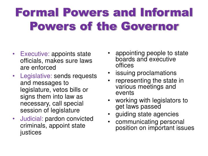 Formal powers and informal powers of the governor