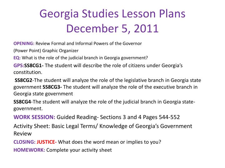 Georgia studies lesson plans december 5 2011