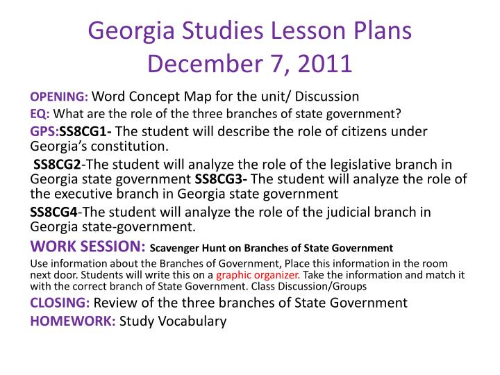 Georgia Studies Lesson Plans