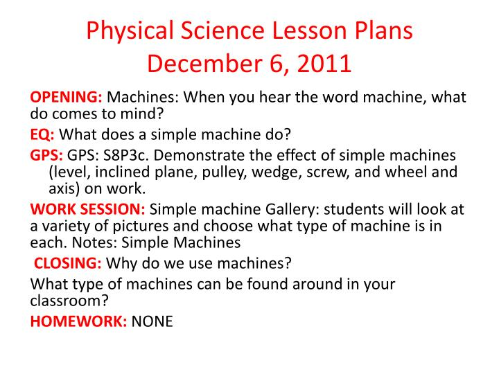Physical Science Lesson Plans