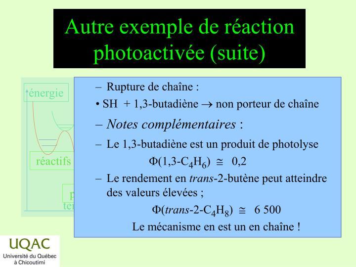 Autre exemple de réaction photoactivée (suite)
