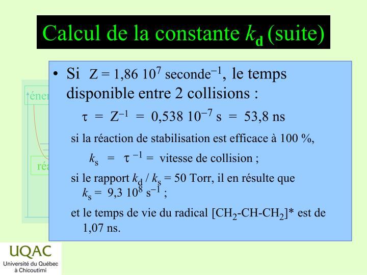 Calcul de la constante