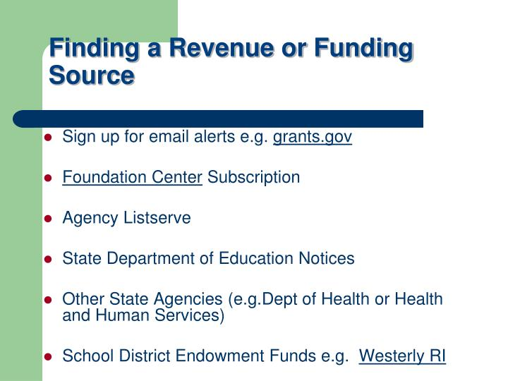 Finding a Revenue or Funding Source