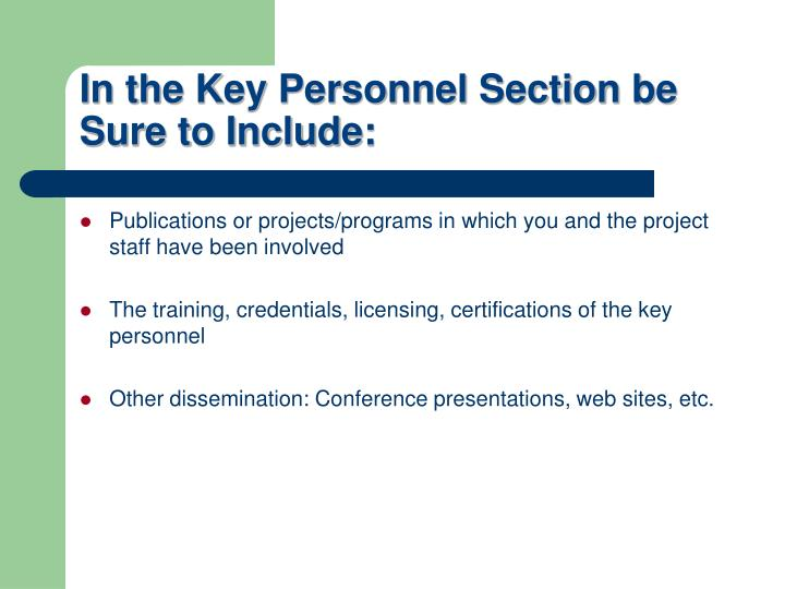In the Key Personnel Section be