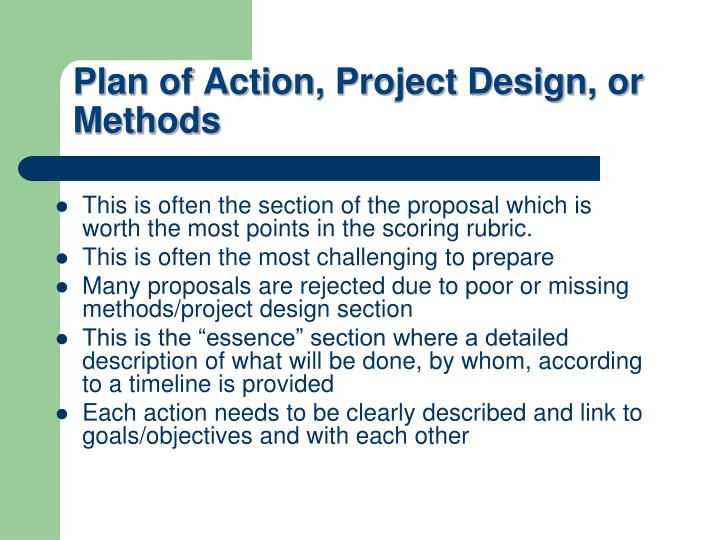 Plan of Action, Project Design, or