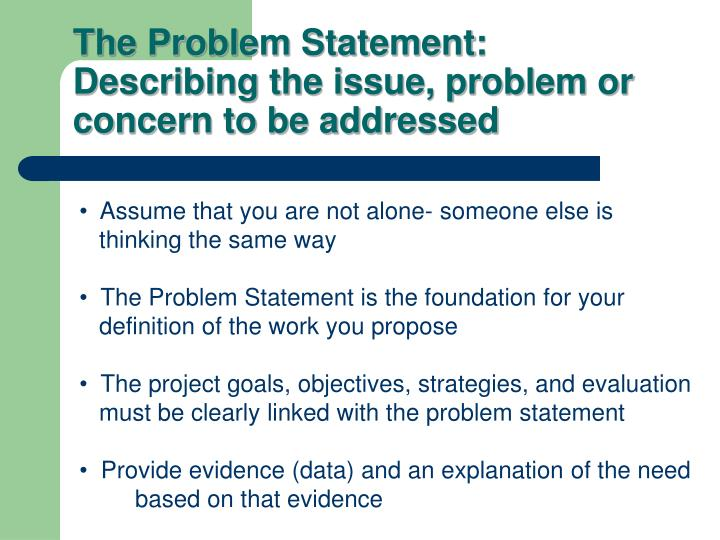 The Problem Statement: Describing the issue, problem or concern to be addressed