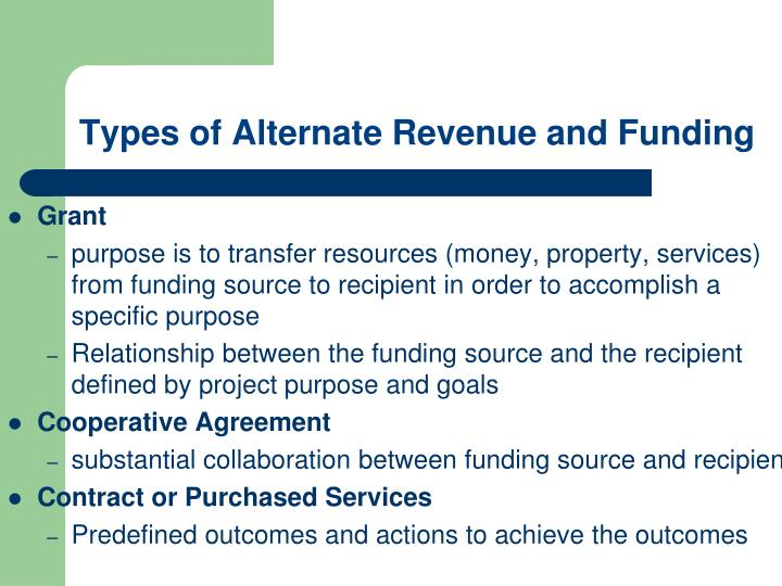 Types of Alternate Revenue and Funding
