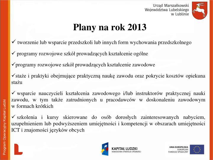 Plany na rok 2013