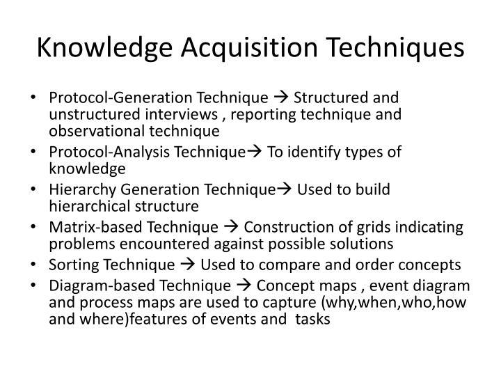 Knowledge Acquisition Techniques