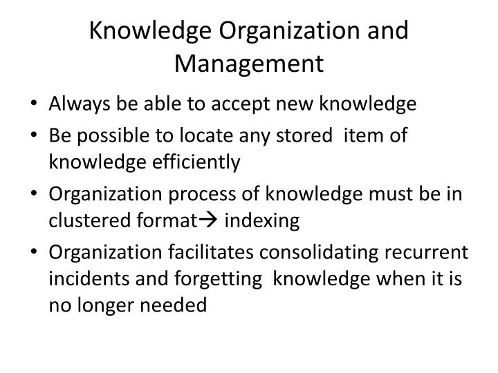 Knowledge Organization and Management