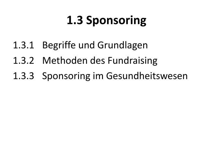 1.3 Sponsoring
