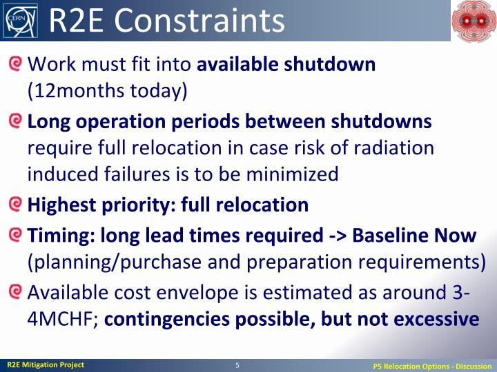 R2E Constraints