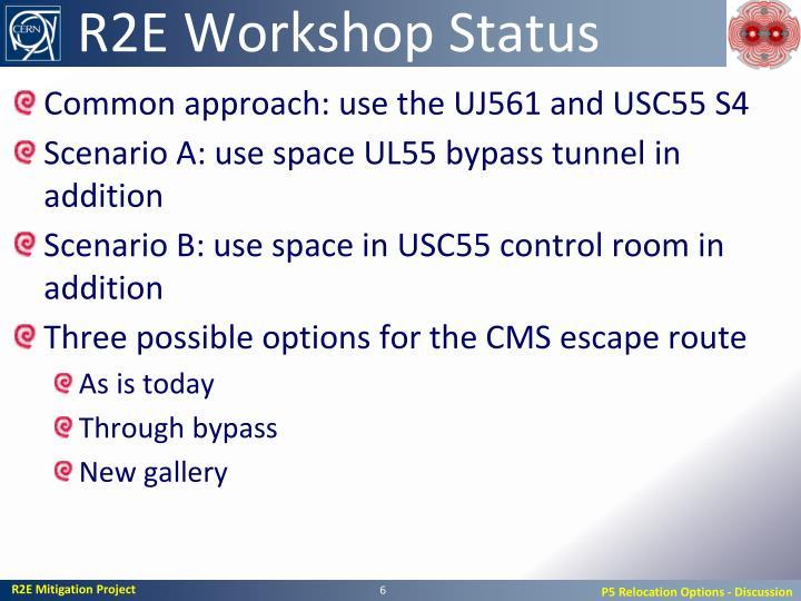 R2E Workshop Status