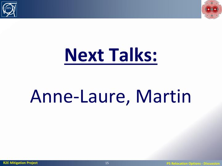 Next Talks: