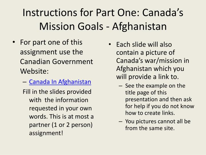 Instructions for Part One: Canada's Mission Goals - Afghanistan