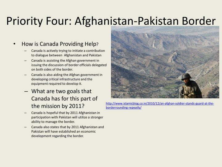 Priority Four: Afghanistan-Pakistan Border