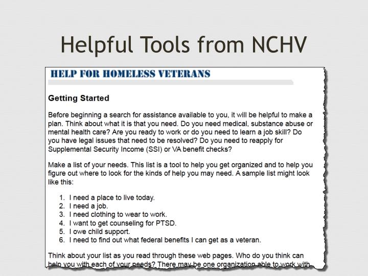 Helpful Tools from NCHV