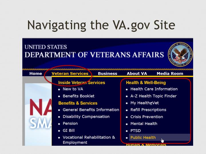 Navigating the VA.gov Site
