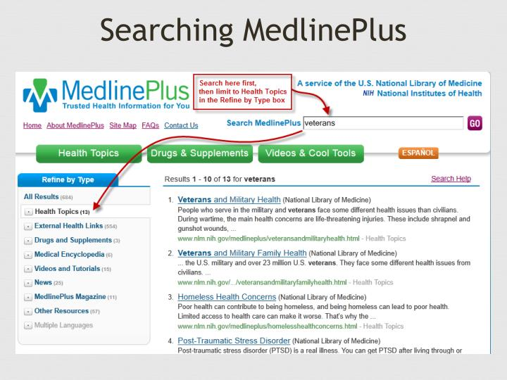 Searching MedlinePlus