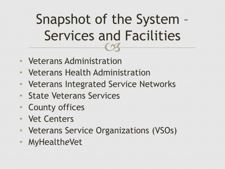 Snapshot of the System – Services and Facilities
