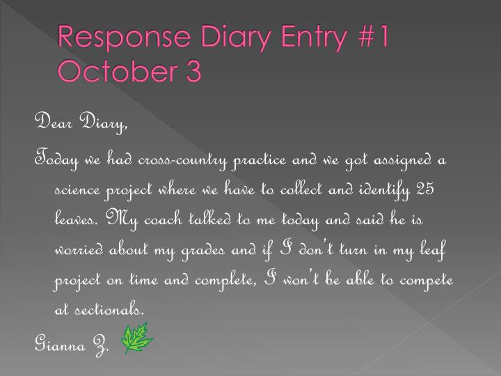 Response diary entry 1 october 3
