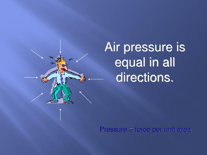 Air pressure is equal in all directions.