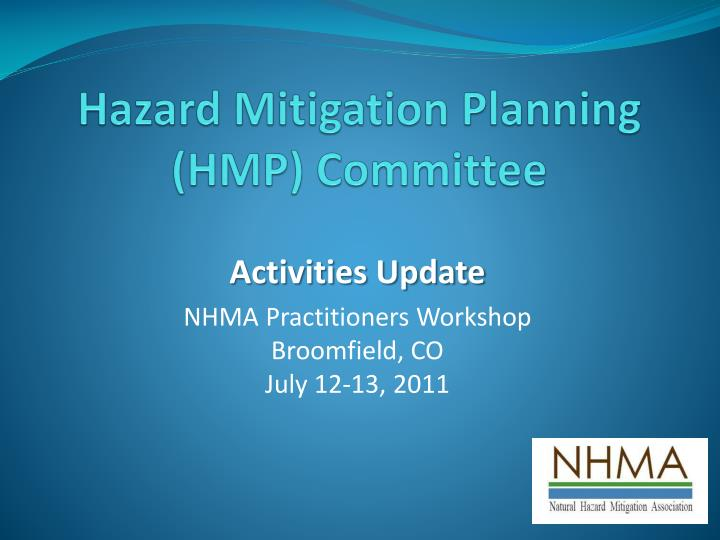 Hazard mitigation planning hmp committee