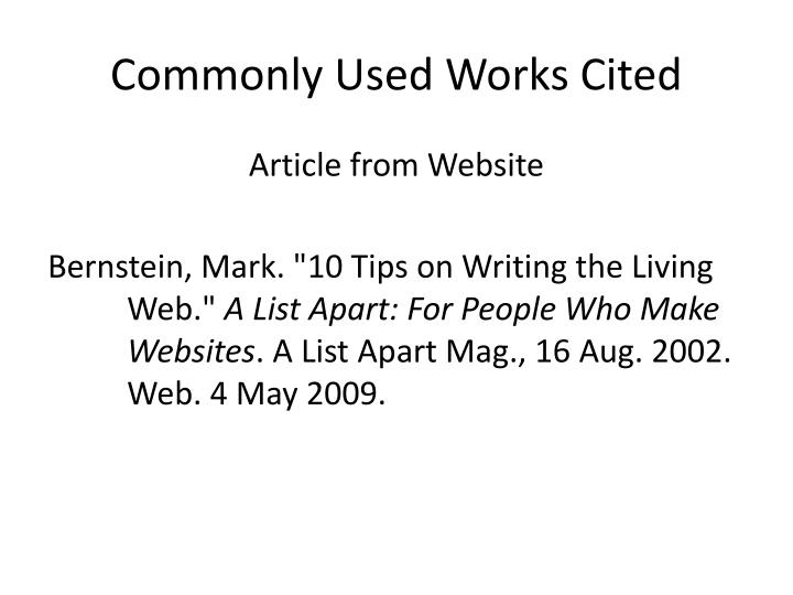 Commonly Used Works Cited