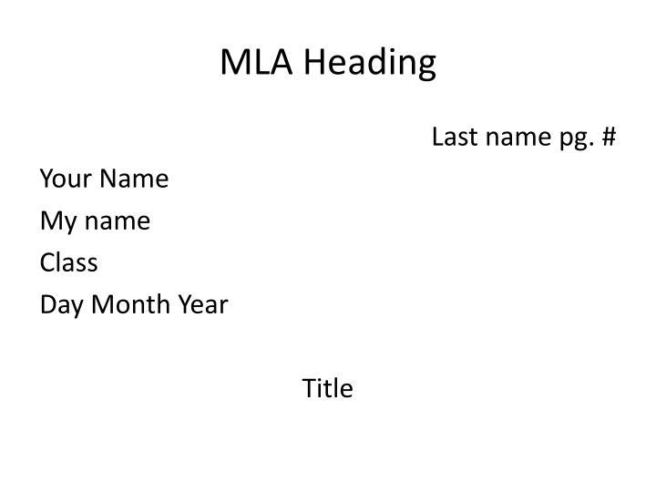 MLA Heading
