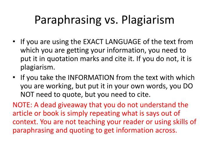 Paraphrasing vs. Plagiarism