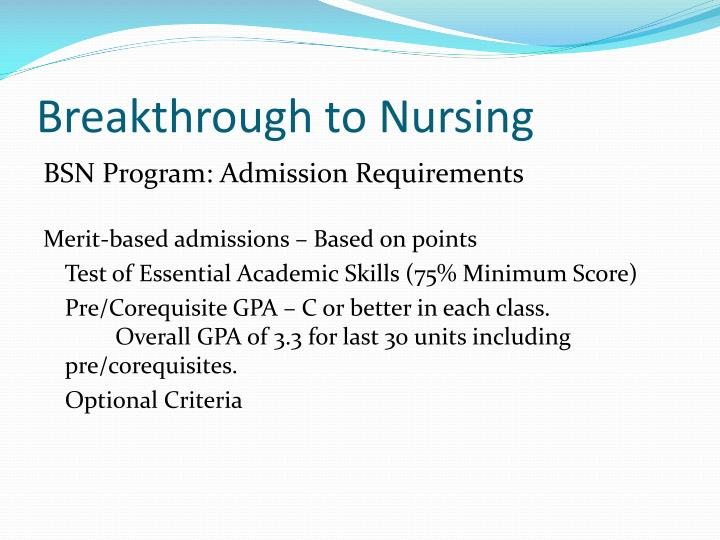 Breakthrough to Nursing