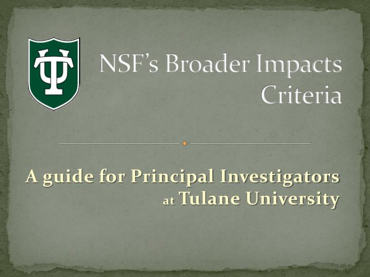 Nsf s broader impacts criteria