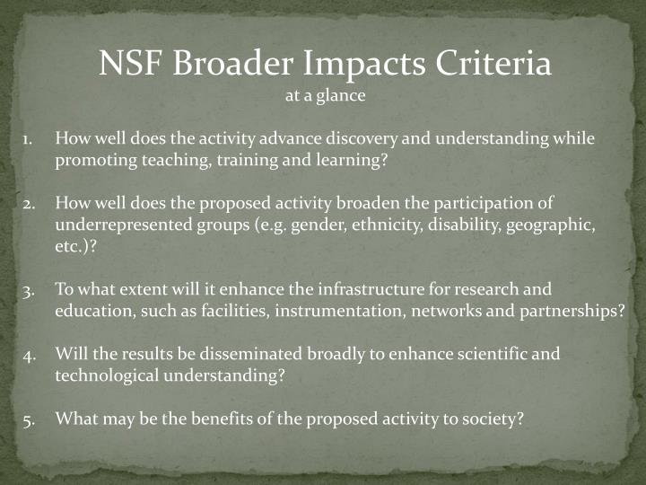 NSF Broader Impacts Criteria