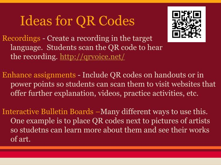Ideas for QR Codes