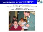 any progress between 2002 20121