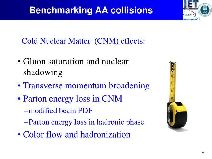 Benchmarking AA collisions