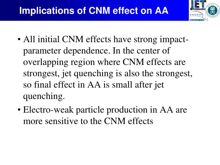 Implications of CNM effect on AA