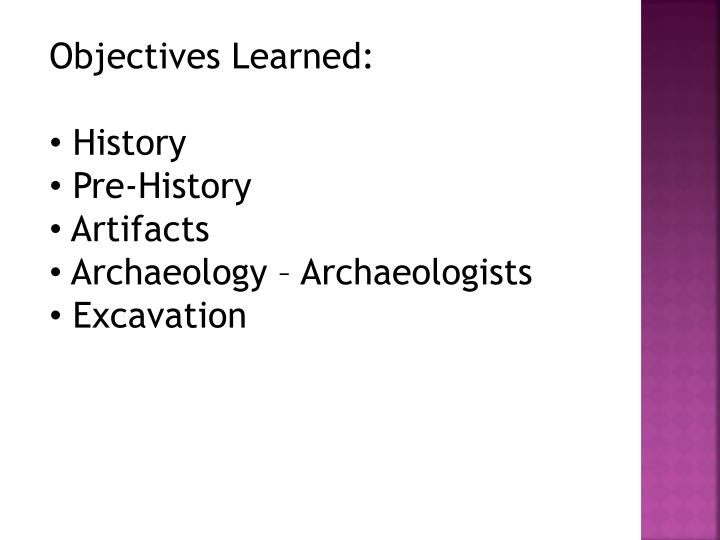 Objectives Learned:
