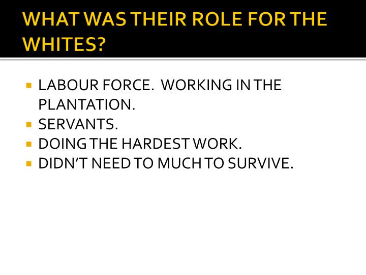 WHAT WAS THEIR ROLE FOR THE WHITES?