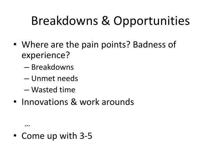 Breakdowns & Opportunities