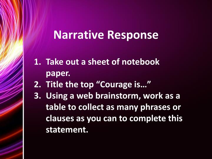 Narrative Response
