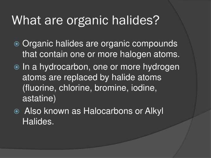 What are organic halides?
