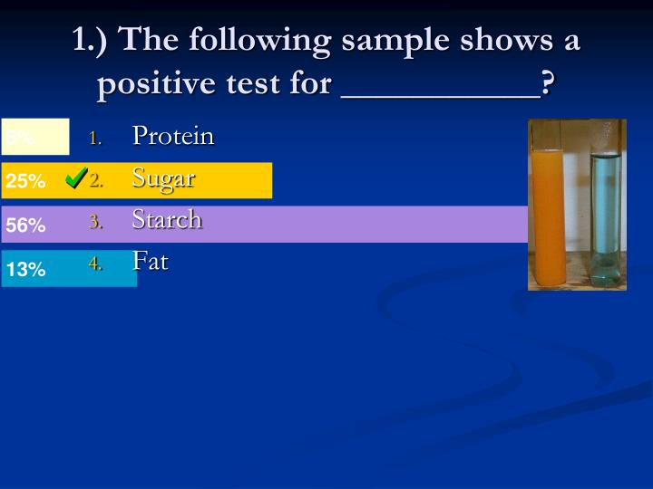 1.) The following sample shows a positive test for ___________?